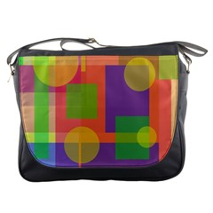 Colorful Geometrical Design Messenger Bags by Valentinaart