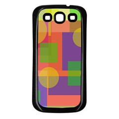 Colorful Geometrical Design Samsung Galaxy S3 Back Case (black) by Valentinaart