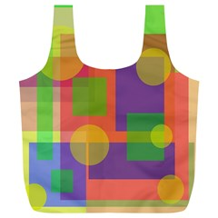 Colorful Geometrical Design Full Print Recycle Bags (l)  by Valentinaart