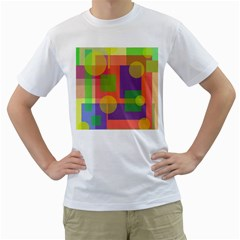 Colorful Geometrical Design Men s T Shirt (white)  by Valentinaart