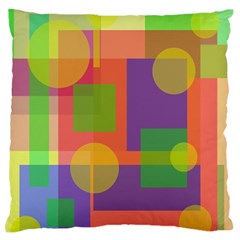 Colorful Geometrical Design Large Flano Cushion Case (two Sides) by Valentinaart