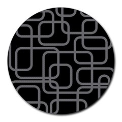 Black And Gray Decorative Design Round Mousepads by Valentinaart