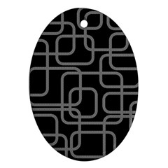 Black And Gray Decorative Design Ornament (oval)  by Valentinaart
