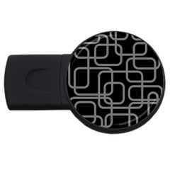 Black And Gray Decorative Design Usb Flash Drive Round (4 Gb)  by Valentinaart