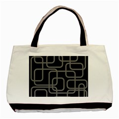 Black And Gray Decorative Design Basic Tote Bag (two Sides) by Valentinaart