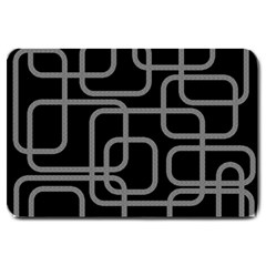 Black And Gray Decorative Design Large Doormat  by Valentinaart