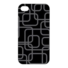 Black And Gray Decorative Design Apple Iphone 4/4s Premium Hardshell Case by Valentinaart