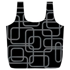 Black And Gray Decorative Design Full Print Recycle Bags (l)  by Valentinaart