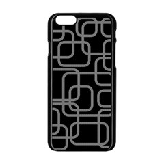 Black And Gray Decorative Design Apple Iphone 6/6s Black Enamel Case by Valentinaart