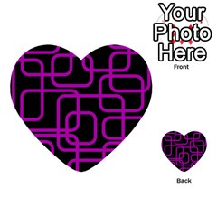 Purple And Black Elegant Design Multi Purpose Cards (heart)  by Valentinaart