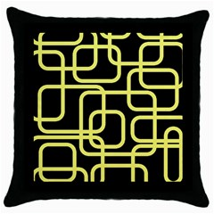 Yellow And Black Decorative Design Throw Pillow Case (black) by Valentinaart