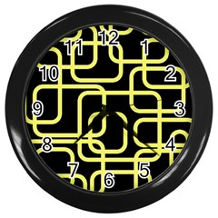Yellow And Black Decorative Design Wall Clocks (black) by Valentinaart