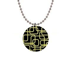 Yellow And Black Decorative Design Button Necklaces by Valentinaart