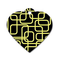 Yellow And Black Decorative Design Dog Tag Heart (one Side) by Valentinaart