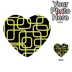Yellow And Black Decorative Design Multi Purpose Cards (heart)  by Valentinaart