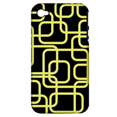 Yellow And Black Decorative Design Apple Iphone 4/4s Hardshell Case (pc+silicone) by Valentinaart