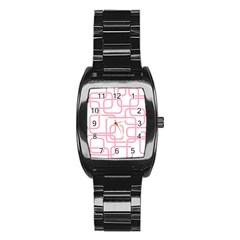 Pink Elegant Design Stainless Steel Barrel Watch by Valentinaart