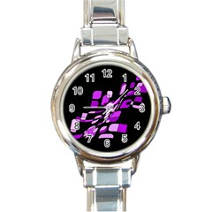 Purple Decorative Abstraction Round Italian Charm Watch by Valentinaart