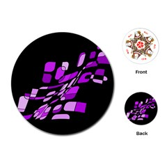 Purple Decorative Abstraction Playing Cards (round)  by Valentinaart