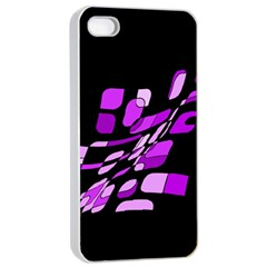 Purple Decorative Abstraction Apple Iphone 4/4s Seamless Case (white) by Valentinaart