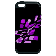 Purple Decorative Abstraction Apple Iphone 5 Hardshell Case (pc+silicone) by Valentinaart