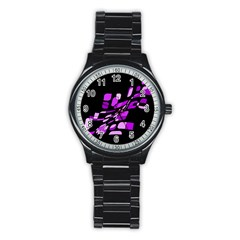 Purple Decorative Abstraction Stainless Steel Round Watch by Valentinaart