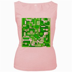 Green Decorative Abstraction  Women s Pink Tank Top