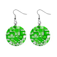 Green Decorative Abstraction  Mini Button Earrings by Valentinaart