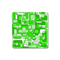 Green Decorative Abstraction  Square Magnet by Valentinaart
