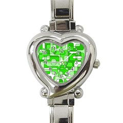 Green Decorative Abstraction  Heart Italian Charm Watch by Valentinaart