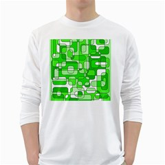 Green Decorative Abstraction  White Long Sleeve T Shirts by Valentinaart