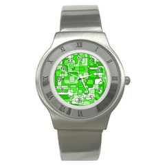Green Decorative Abstraction  Stainless Steel Watch by Valentinaart