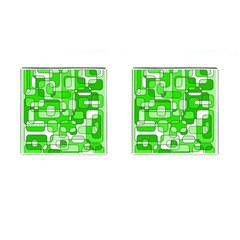 Green Decorative Abstraction  Cufflinks (square) by Valentinaart