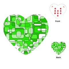 Green Decorative Abstraction  Playing Cards (heart)  by Valentinaart
