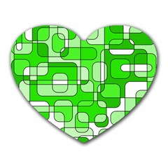 Green Decorative Abstraction  Heart Mousepads by Valentinaart