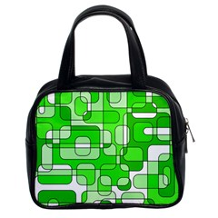 Green Decorative Abstraction  Classic Handbags (2 Sides) by Valentinaart