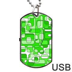 Green Decorative Abstraction  Dog Tag Usb Flash (one Side) by Valentinaart