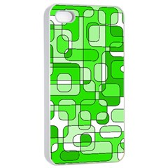 Green Decorative Abstraction  Apple Iphone 4/4s Seamless Case (white) by Valentinaart
