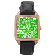 Green Decorative Abstraction  Rose Gold Leather Watch  by Valentinaart