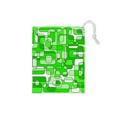 Green Decorative Abstraction  Drawstring Pouches (small)  by Valentinaart