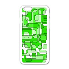 Green Decorative Abstraction  Apple Iphone 6/6s White Enamel Case by Valentinaart