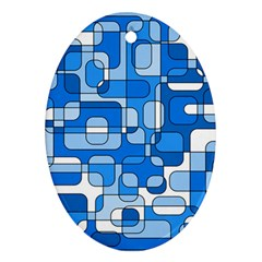 Blue Decorative Abstraction Ornament (oval)  by Valentinaart