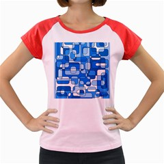 Blue Decorative Abstraction Women s Cap Sleeve T-shirt by Valentinaart