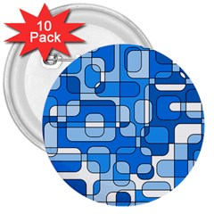 Blue Decorative Abstraction 3  Buttons (10 Pack)  by Valentinaart