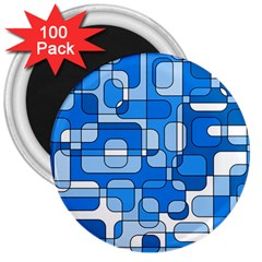 Blue Decorative Abstraction 3  Magnets (100 Pack) by Valentinaart