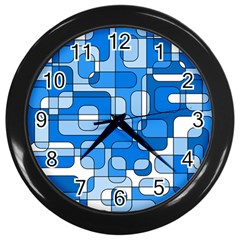 Blue Decorative Abstraction Wall Clocks (black) by Valentinaart