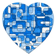 Blue Decorative Abstraction Jigsaw Puzzle (heart) by Valentinaart