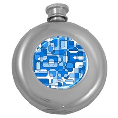 Blue Decorative Abstraction Round Hip Flask (5 Oz) by Valentinaart