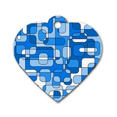 Blue Decorative Abstraction Dog Tag Heart (one Side) by Valentinaart