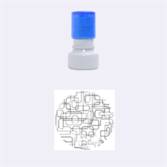 Blue Decorative Abstraction Rubber Round Stamps (small) by Valentinaart